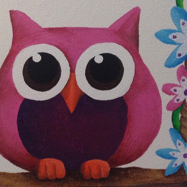 Muurschildering babykamer uiltjes - Kamer schilderij ...